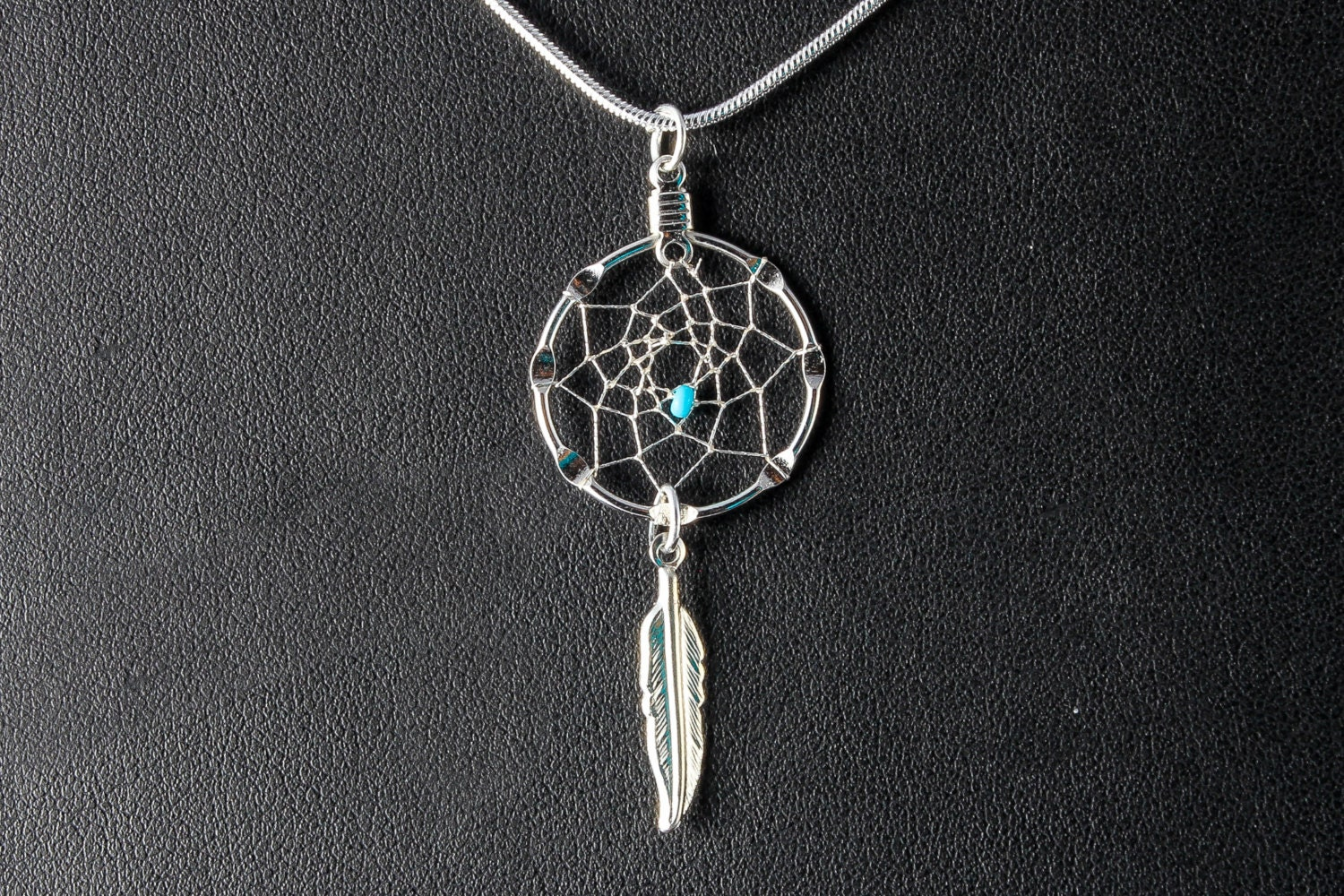Handmade silver dream catcher necklace with turquoise bead for Dreamcatcher beads meaning