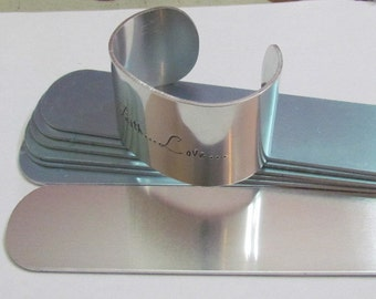 1 1/2 x 6  Aluminum cuff bracelet blanks - hand stamping blanks - Easy to use-aluminum bracelet blanks - strips -Protective film both sides