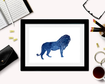 Downloadable Lion Art Print - Lion Silhouette - Lion Download - Lion Printable - Galaxy Art - Space Art - Lion Decor - Instant Download
