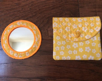 Sunny Yellow Mirror and Pouch