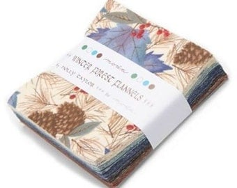 Moda Charm Pack Winter Forest  Fabric Squares 42 squares 5 inch Pre Cut Flannel