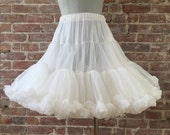 RESERVED Size S - 1950s White Petticoat / Vintage Crinoline