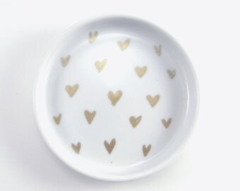 Hearts, Gold Jewelry Dish, jewelry tray, office accessory, home office, bridesmaid gift, gold jewelry tray, fashion home decor, heart dish