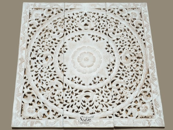 Carved Wood Wall Decor White : White washed carved wood wall art panel floral by siamsawadee
