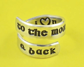 I Love You To The Moon And Back -  Hand Stamped Spiral Ring, Personalized Love Ring, Secret Message Ring