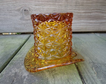 Fenton Glass Large Daisy and Button Tophat