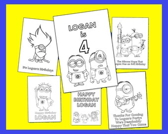 Minions Personalized Coloring Book - Printable PDF File, Emailed - Great as Party Favors & Gifts - DIY Birthday Party