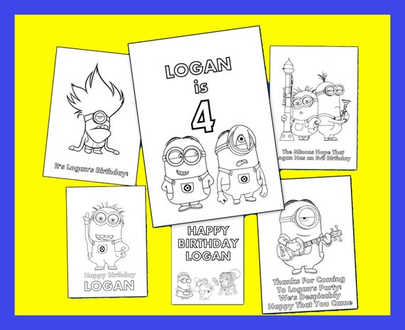 minions personalized coloring book printable pdf file emailed great as party favors - Personalized Coloring Book