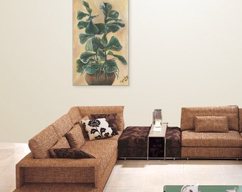 Still Life, Plant Life, Giclee on Canvas, Green Painting Title: Sea Grape