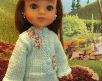Pastel Green Sweater Set-- Fits 14'' Dolls-- Fits Hearts for Hearts Dolls- Sweater with Embroidered Front