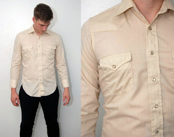 Mens Cream Button Down Shirt | Is Shirt