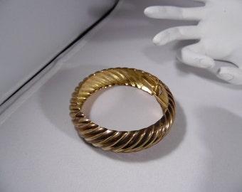 Brass Hinged Woven Design Bangle Bracelet.