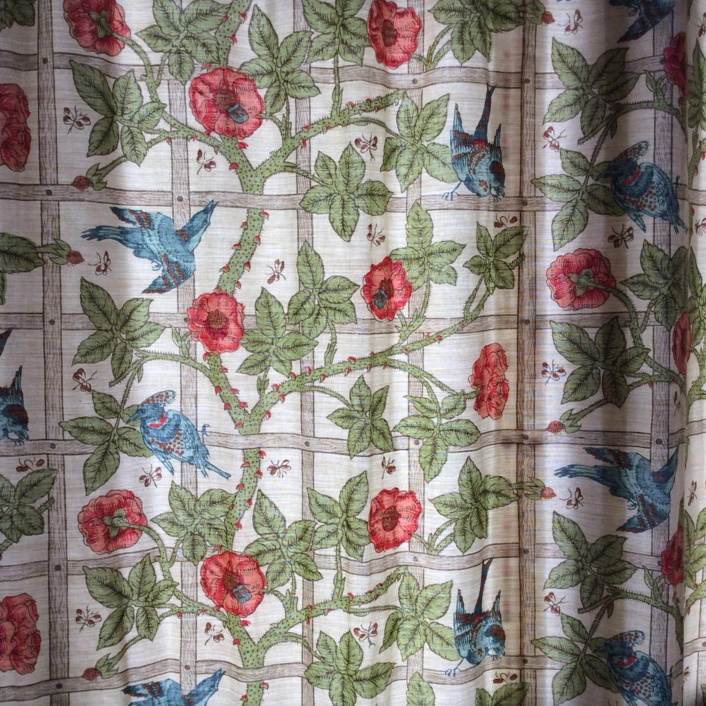 William Morris Trellis: Vintage Fabric Curtain William Morris Trellis Victorian Design