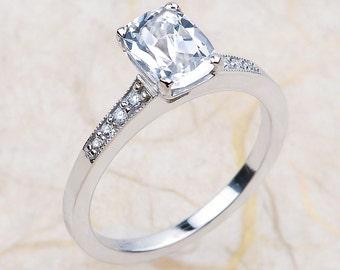 14K White Gold Engagement Ring Center is 8x6 White Topaz