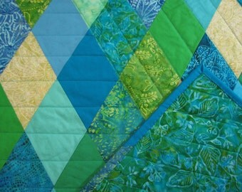 """Modern Lap Quilt, Diamond Quilt, Blue and Green Quilted Throw, Beach House Decor, 42"""" x 57"""", Quiltsy Handmade"""