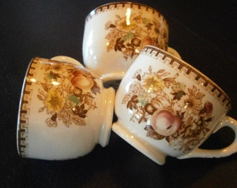 Set of 3 Small Demitasse, After Dinner, Mini Tea cups, Floral and Fruit, Japan, Brown, Vintage