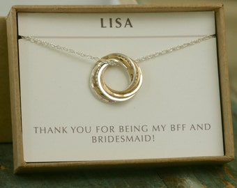 Bridesmaid necklace gold silver bridesmaid jewelry gold, bridesmaid gift, 7 interlocking rings necklace, 7 year anniversary gift - Lilia