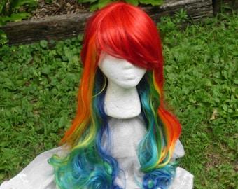Rainbow Wig, Rainbow Dash wig, MLP, Cosplay, long Rainbow Wig, Long curly, wavy wig, Mulitcolor, side swept Bangs, long bangs, long rainbow