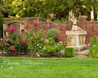 Flower Garden and Statue 2 Digital Background for Whimsical, Princess and Knight Photography Sessions