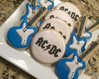 Rock & Roll - Guiltar - 1 Dozen (12) Custom Sugar Cookies