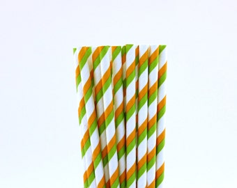 Green and Orange Striped Paper Straws-Striped Straws-Science Fair Decor-Orange Straws-Green Birthday Straws-Circus Party Straws
