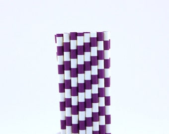 Purple Rugby Horizontal Striped Paper Straws-Football Party Straws-Graduation Paper Straws-Purple Straws-Polka Dot Straws-Mason Jar Straws