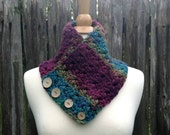 Striped Crochet Scarf - Chunky Neck Warmer Scarf - Crochet Women's Scarf