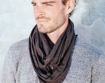 Mens Brown Infinity Scarf, 100% Cotton Scarf for men, Dark Brown Scarf, Brown Mens Scarf, Mens Infinity Scarf, Solid Color male scarf