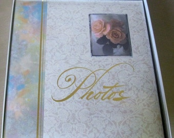 "On Sale Vintage Hallmark Post-Bound Photo Album, 11 x 12.5"", Rose Floral Pattern, New in Original Box"