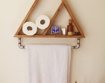 Bathroom Shelf. Towel Holder. Triangle Shelf. Geometric Shelf. Hipster Apartment.