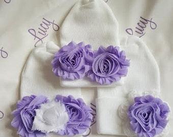 Hospital Newborn Round Comfort Top Beanie, Baby Girl Hat, Newborn Hospital Hat,  Newborn's First Flower! Shabby Chic Purple Roses <3