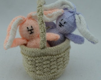 KNITTING PATTERNS - Rabbits in a Basket (Easter) - Knitting Pattern Download From Knitting by Post