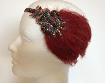 Halloween Headband, turquoise beaded headpiece,feather headband, feathered headband, autumn colors, autumnal,