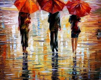 Figurative Oil Painting Brown Fine Arts On Canvas By Leonid Afremov - Three Red Umbrellas