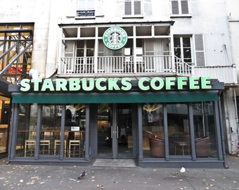 Starbucks in Paris, France 5x7 Photograph