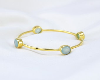 Seafoam Chalcedony Bangle - Aqua Chalcedony Bangle Bracelets - Aqua Bangles - Stacker Bangle - Gemstone Bangle Bracelet