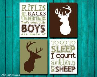 Hunting Nursery Wall Art. Rifles, Racks, & Deer Tracks and To go to SLEEP I count Antlers not SHEEP. Hunting Decor. Boys Hunting Signs. Deer