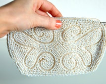 Vintage Evening Bag | White/ivory/cream beaded 1960s evening bag clutch pouch coin purse