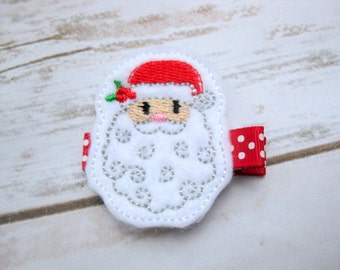 Santa hair clips, Father Christmas hair accessories, girls felt christmas,Holiday hair, festive hair cllip, stocking filler, UK seller