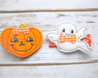 Halloween Pumpkin and Ghost set of hair clips, fall hair clip, autumn pumpkin hair clip, happy ghost hair clip, UK seller