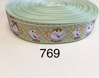 "3 or 5 yard - 1"" Teapot and Tea Cup inspired from Beauty and the Beast Grosgrain Ribbon Hair bow"