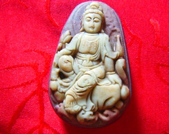 Free Delivery Natural AAA purple and green jade Laughing Buddha kwanyin luck pendant necklace