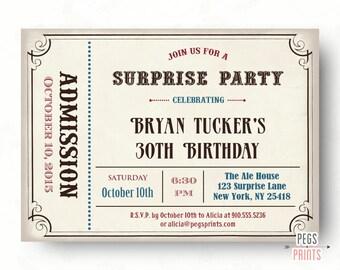 Male Surprise Birthday Invite - Surprise Birthday Invitation (Printable) Admit One Invitation - Male Birthday Invitations - Admit One Ticket
