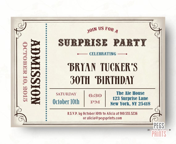 Male Surprise Birthday Invite Surprise Birthday Invitation