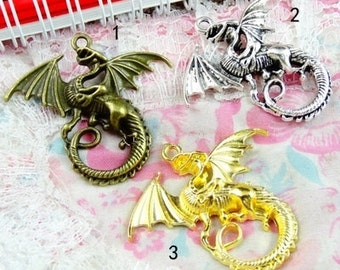 DIY 10 pcs antique bronze silver or gold fly dragon charm pendant 45x43mm