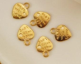 60pc antique gold  Mini Heart  Charm Pendants  9x12mm small heart