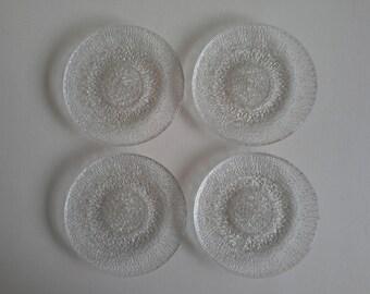 4 Vintage Indiana Glass Crystal Ice Salad Plates.