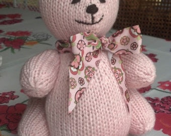 Hand Knit Teddy Bear - one color