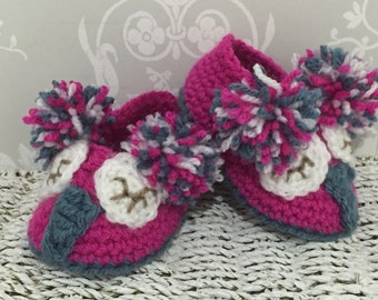 Crochet Owl baby slippers booties