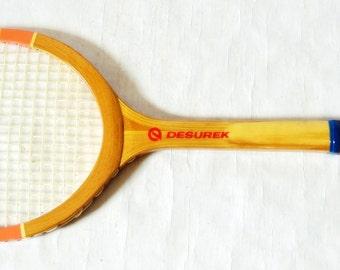 Vintage Wooden Tennis Racket / Retro Soviet / Desurek / Antique Racket / Old Racquet / Sports Decor Tennis Decoration